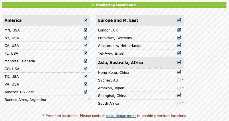 Dotcom-monitor allows you to choose from monitoring servers all over the globe.