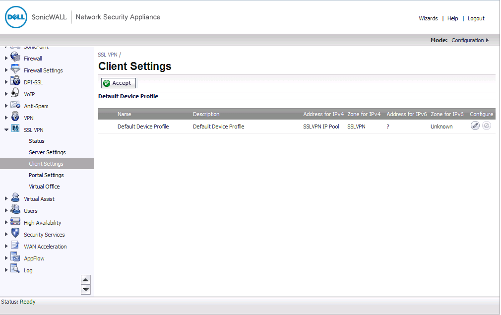 SonicOS 5.9.0.0 SSL VPN Client Settings Page
