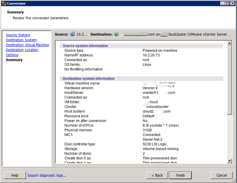 Review the Conversion Details in the VMware Converter