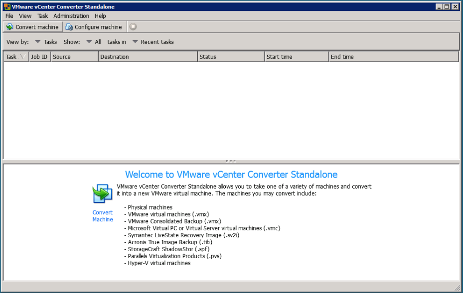 Launch the VMware Vcenter Converter