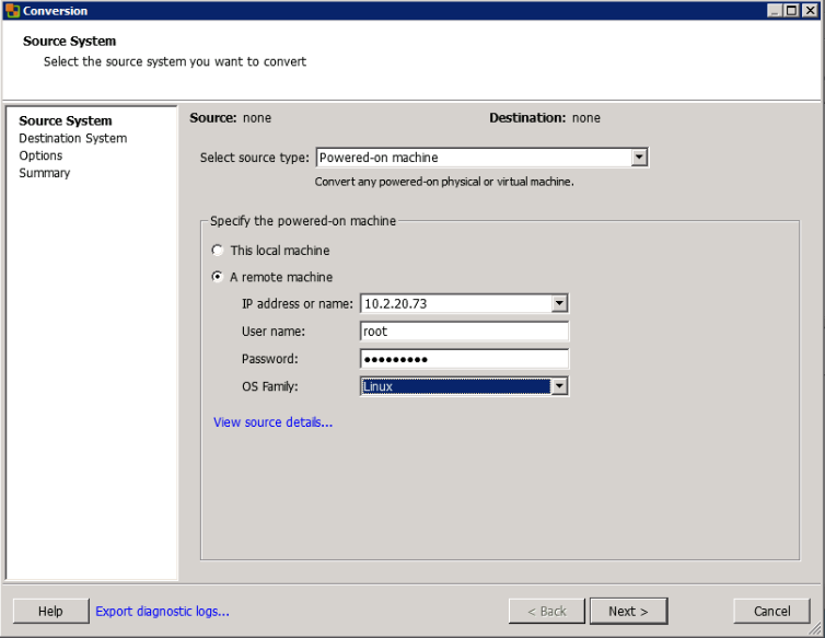 Enter Credentials to the Source System into the VMware vCenter Converter