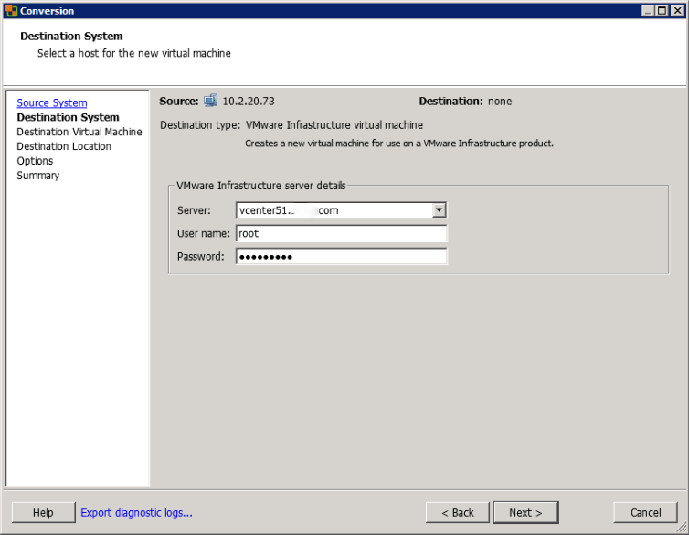 Enter Credentials to Connect to the Destination vCenter System