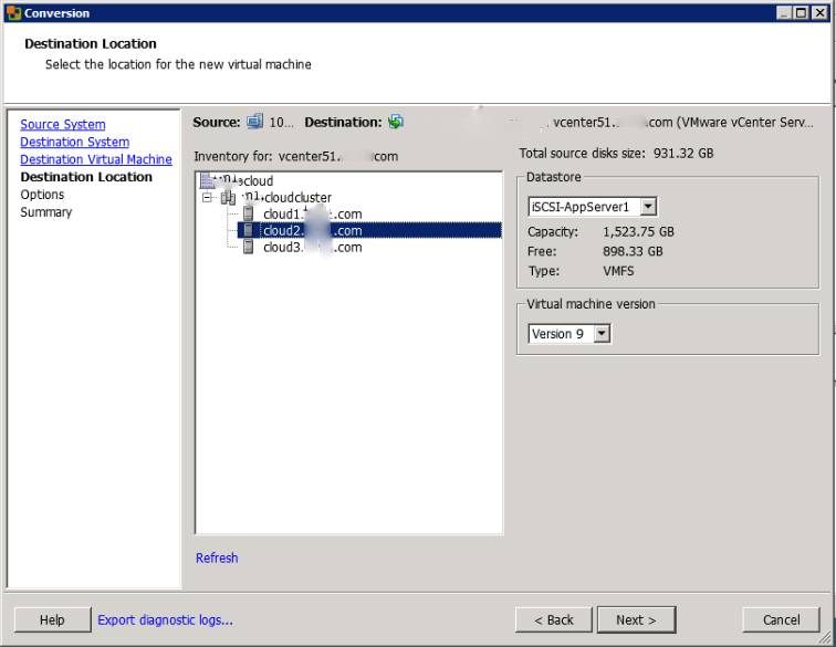 Select VMware Host, Datastore, and Virtual Machine Version