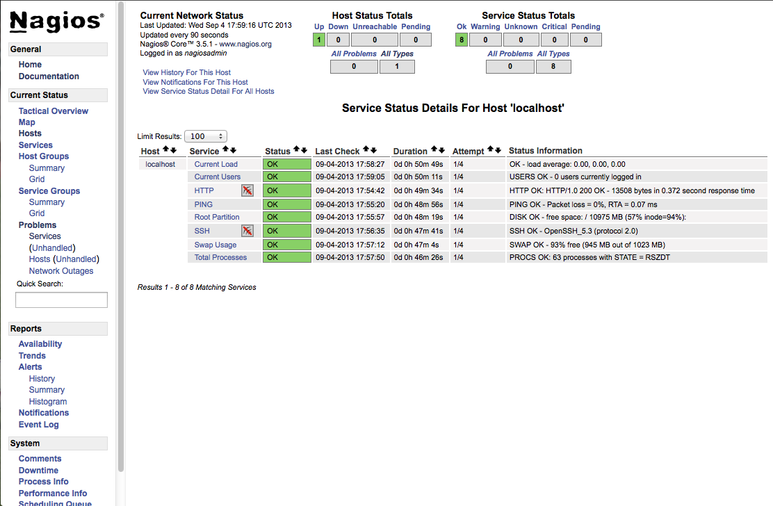 Nagios Management Console Allows you to Create Uptime Reports and Manage your Services and Hosts Monitoring Tasks