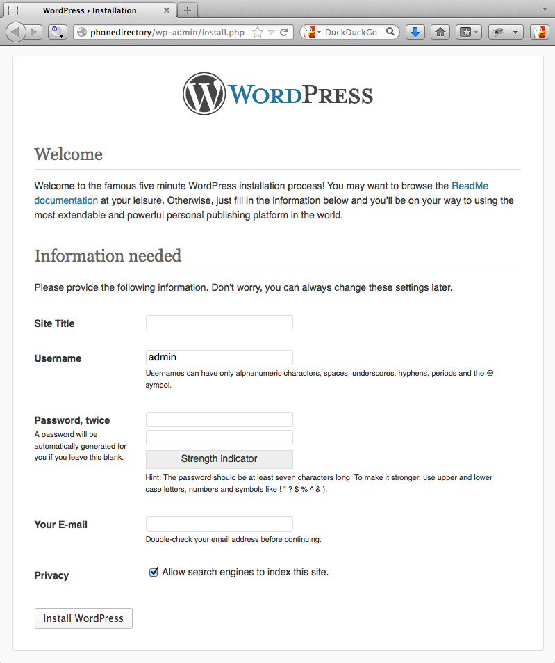 Finish WordPress Configuration