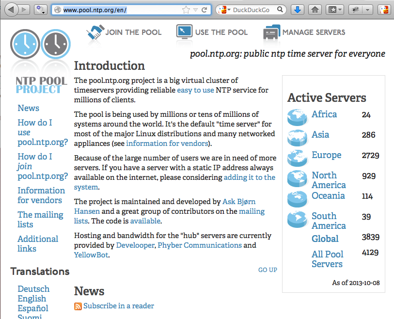 NTP Pool Project WebPage - Choose an NTP Server