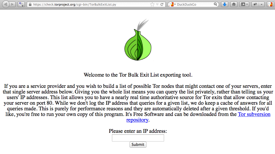 Block Tor network exit nodes - Tor Bulk Exit List exporting tool webpage