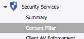 SonicWall Find Content Filter Features in the Menu
