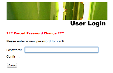 After Logging in to Cacti the First Time, You are Told to Change The Admin Password