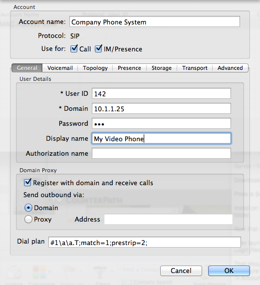 Bria 3 Softphone in Preferences / Accounts Page