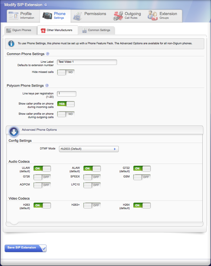 Configure the extension to support Video Codecs