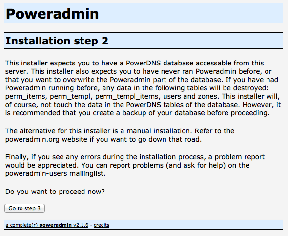 Poweradmin Installation Step 2
