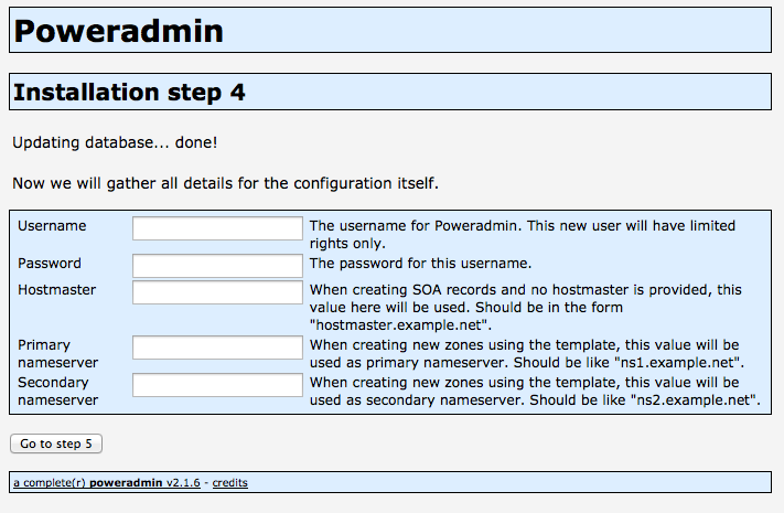 Poweradmin Installation Step 4