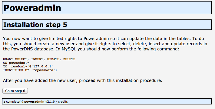 Poweradmin Installation Step 5