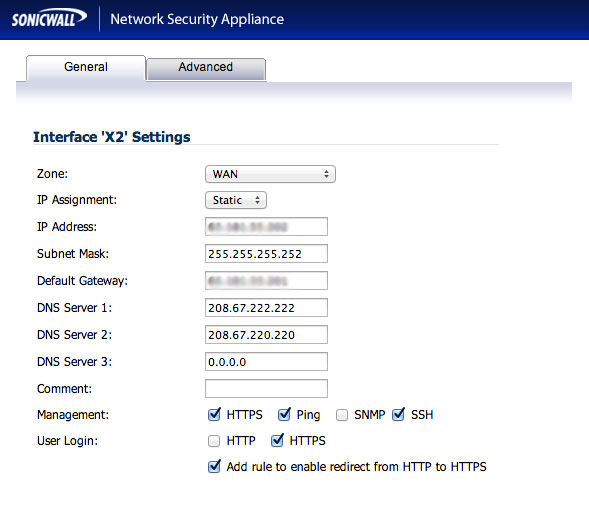 Configure the SonicWall X2 Network Interface