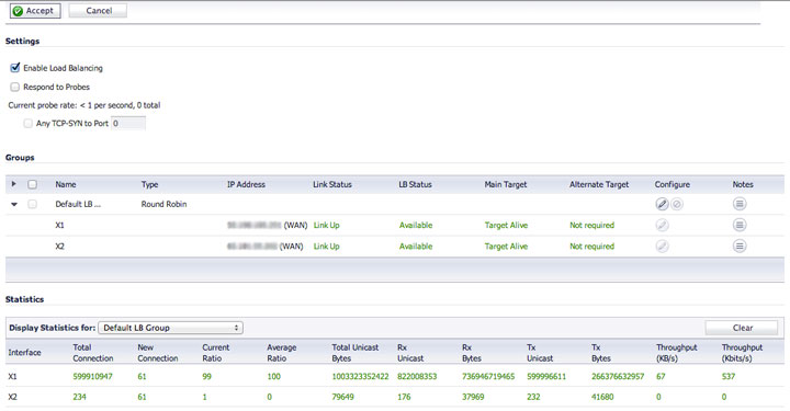 SonicWall Failover and Load Balancer Page