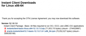 Download the Oracle Instant Client Basic RPM
